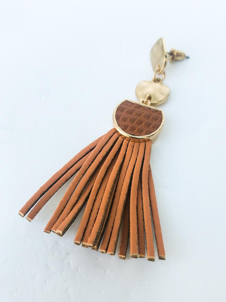 Napa Tassel Earring - Peach-Hand In Pocket