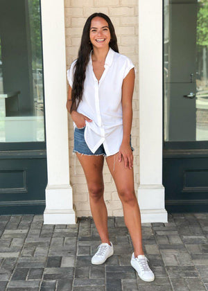 Rag Poets Rinella Button Up Hi-Lo Short Sleeved Top-Hand In Pocket