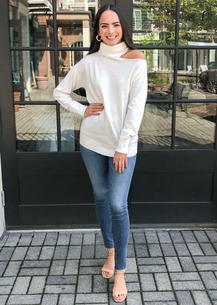 525 America Cold Shoulder Knit Top-White-Hand In Pocket