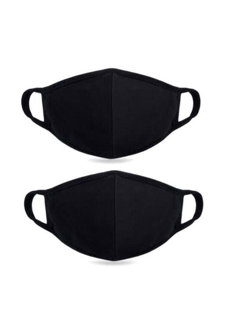 Washable Cotton Face Mask- Pack 3- Black-Hand In Pocket