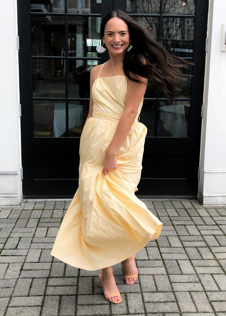 English Factory Yellow Striped Tie Waist Midi Dress-***FINAL SALE***-Hand In Pocket