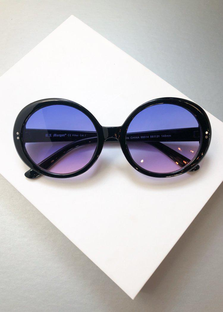 A.J. MORGAN Round Romance Black with Blue Purple Gradient Sunnies-Hand In Pocket