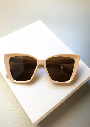 A.J. MORGAN Beige Square Cat-Eye Orchestrated Sunnies-Hand In Pocket