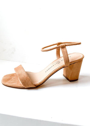 Chinese Laundry Yummy Fine Suede Heeled Sandal-Hand In Pocket