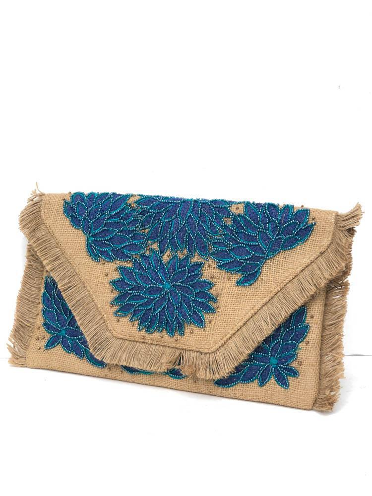 Kuta Blue Embroidered Beaded Clutch-Hand In Pocket