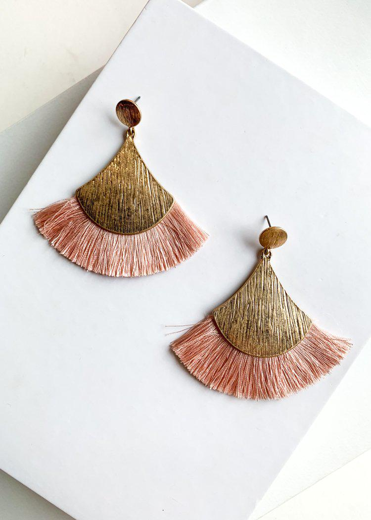 Blush Fan Tassel Earrings-Hand In Pocket