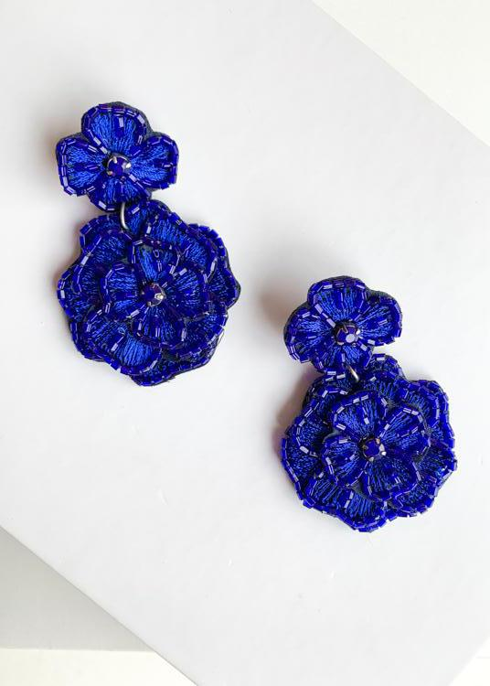 Ewa Beach Cobalt Floral Drop Earrings-Hand In Pocket