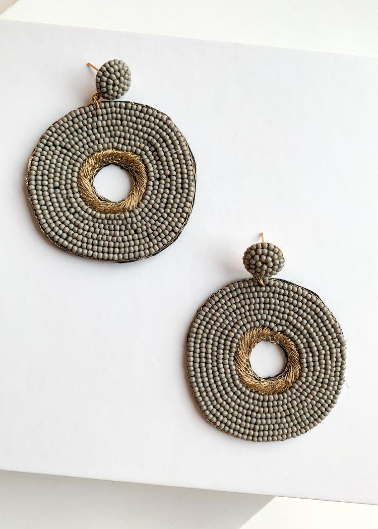 Lailani Grey Beaded and Gold Embroidered Drops-Hand In Pocket
