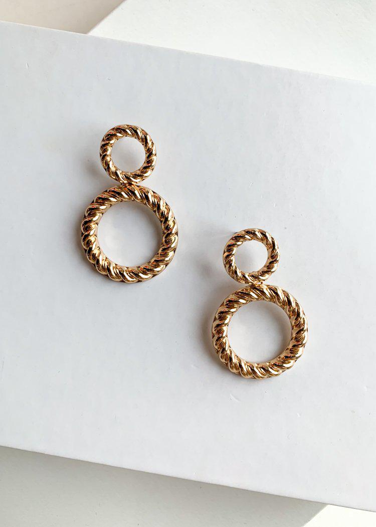 Pak Kret Gold Double Drop Hoops-Hand In Pocket
