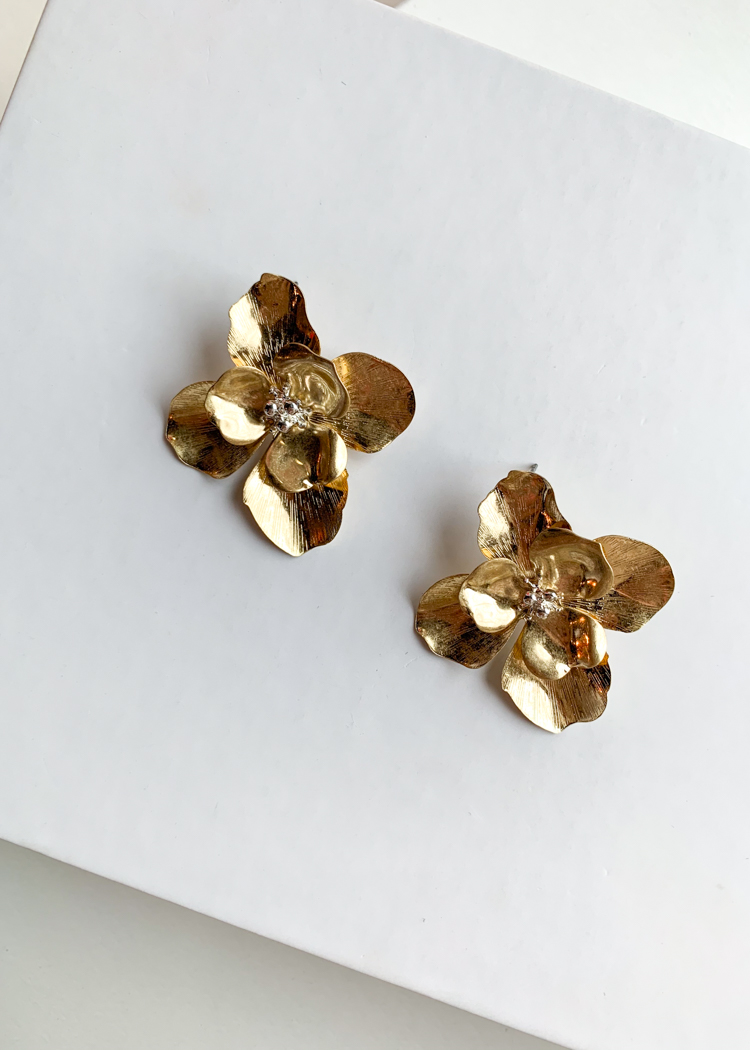 Bougainvillea Gold Floral Pearl Accent Drops-Hand In Pocket