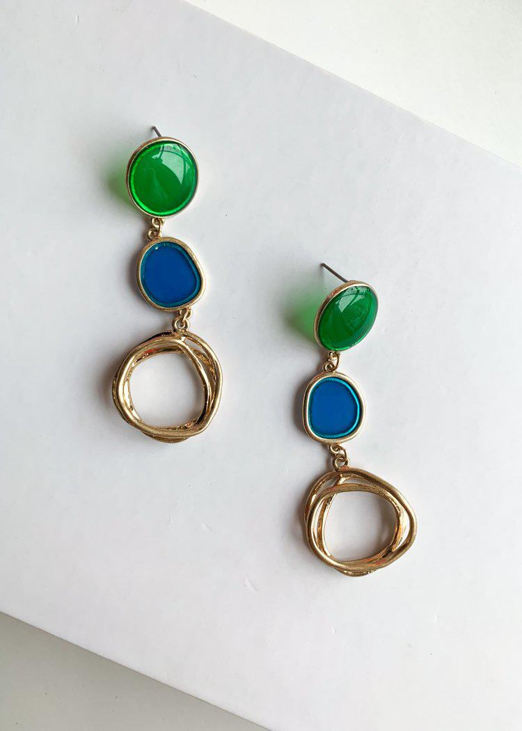 Paia Blue and Green Gold Drop Earrings-Hand In Pocket