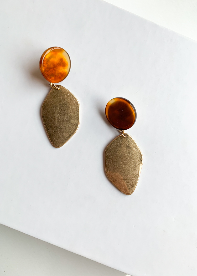 Pahoa Gold and Tortoise Drop Earrings-Hand In Pocket