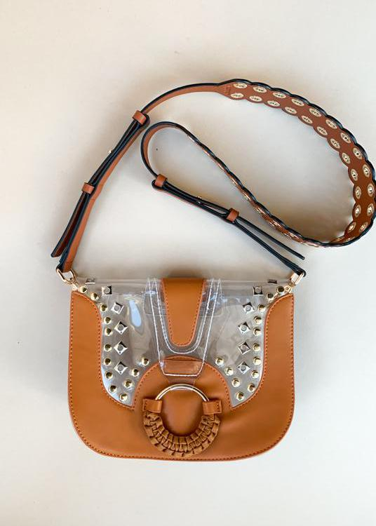 Clearly Saddle Tan Eyelet Bag Strap-Hand In Pocket