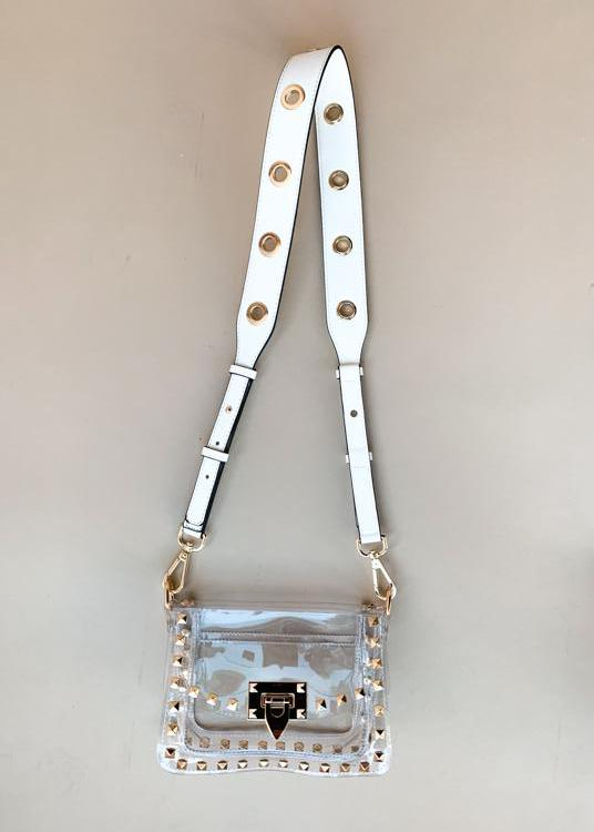 Clearly White Grommet Bag Strap-***FINAL SALE***-Hand In Pocket