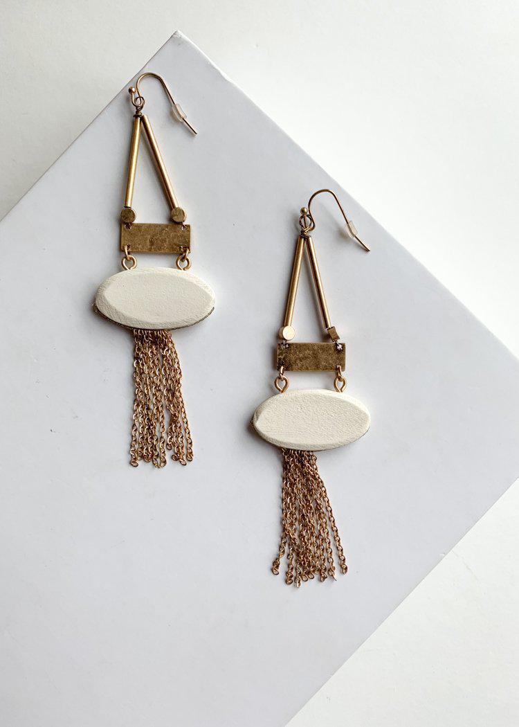 Nungwi Ivory Gold Tassel Drop Earrings-Ivory-Hand In Pocket