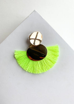 Sol Neon Yellow Fringe Drop Earrings-Hand In Pocket