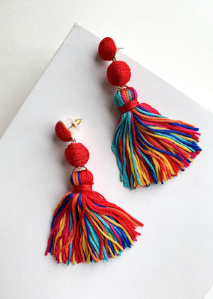 Rainbow Multi-Color Tassel Drop Earrings-Hand In Pocket