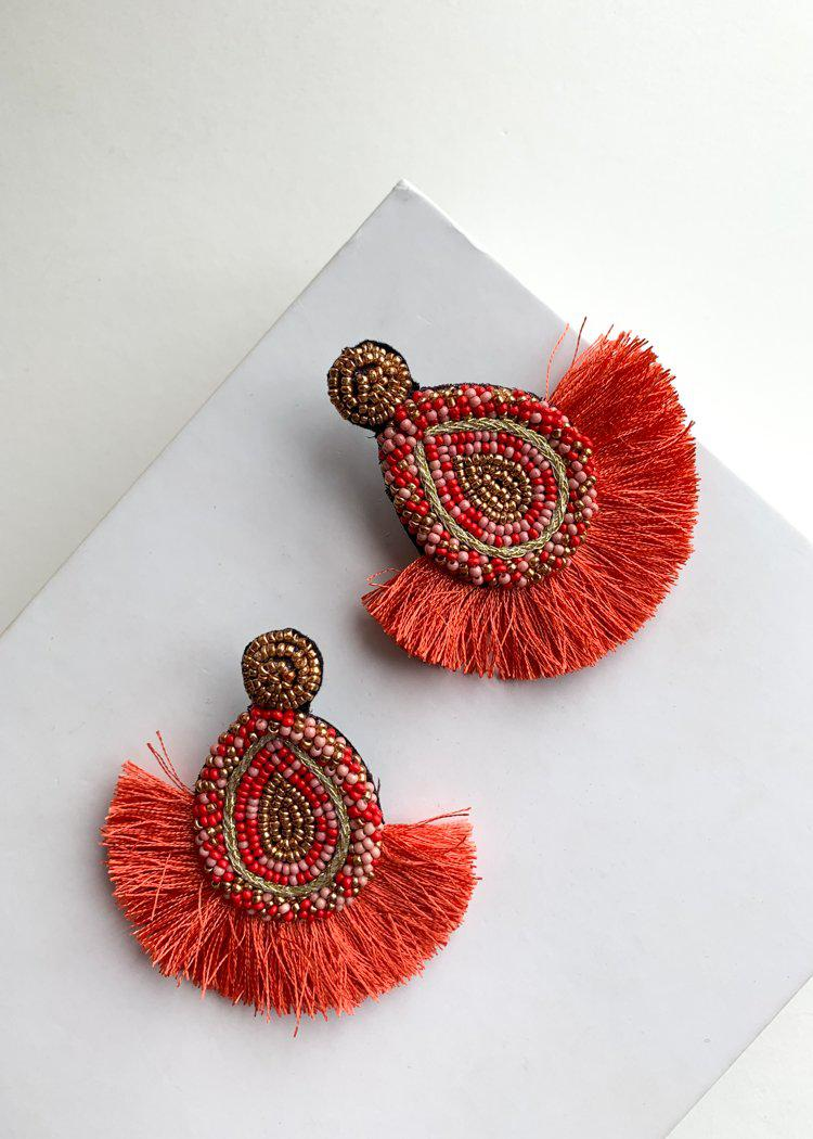 Apple Bay Red and Pink Beaded Fringe Drops-Hand In Pocket