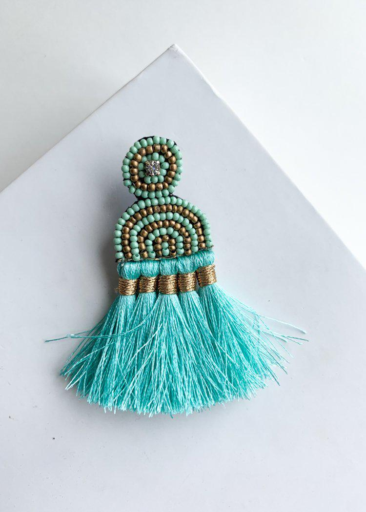 Cabarete Beaded Turquoise Fringed Drops-***FINAL SALE***-Hand In Pocket