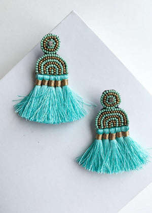 Cabarete Beaded Turquoise Fringed Drops-Hand In Pocket