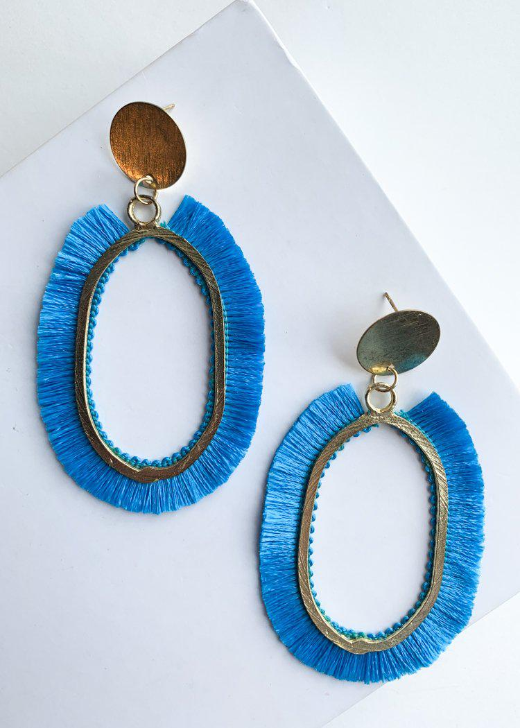 Chitimba Blue and Gold Oval Fringe Drops-Hand In Pocket