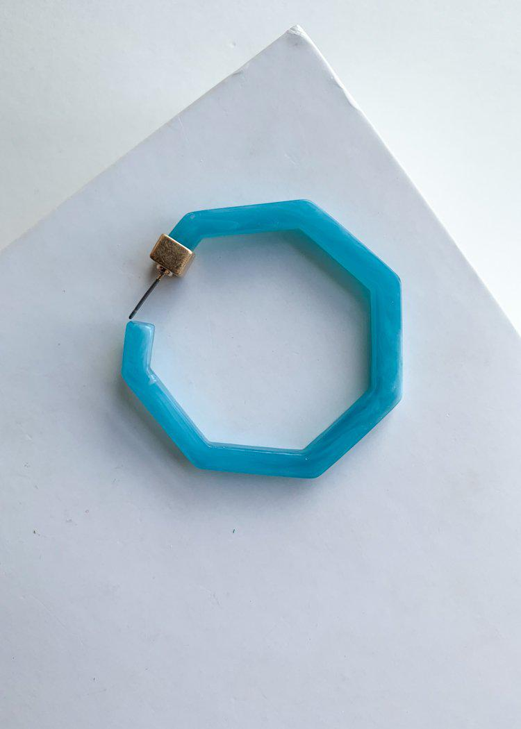 Ladadee Turquoise Acrylic Geometic Hoops-Hand In Pocket