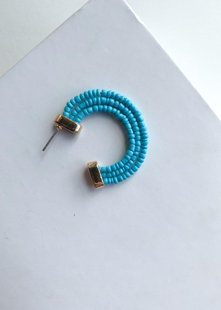 Guadeloupe Turquoise Beaded Hoop Earrings-***FINAL SALE***-Hand In Pocket