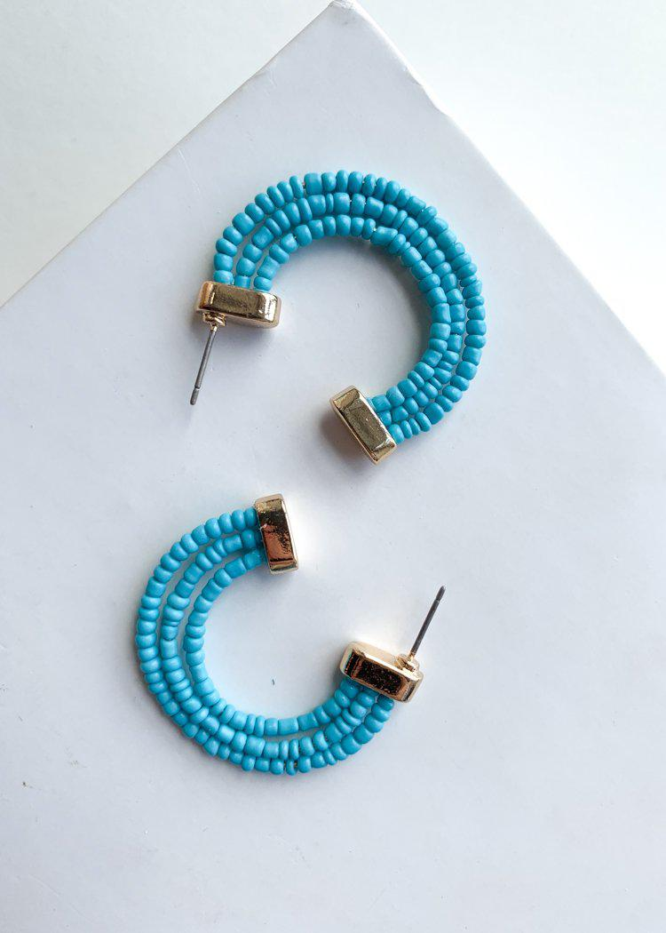 Guadeloupe Turquoise Beaded Hoop Earrings-Hand In Pocket