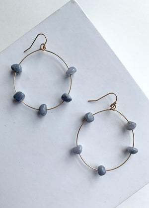 Cloud Cover Gray Stone Hoops-Hand In Pocket