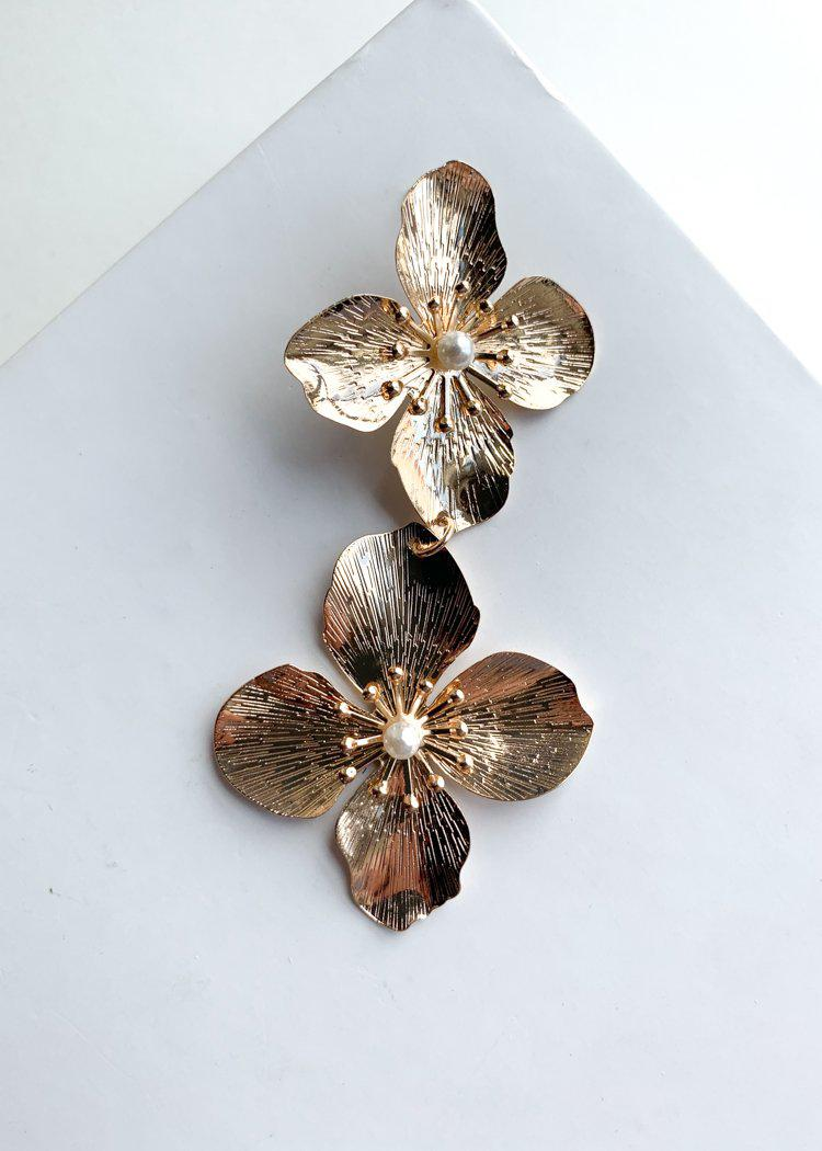 Plumeria Gold Floral Pearl Accent Drops-Hand In Pocket