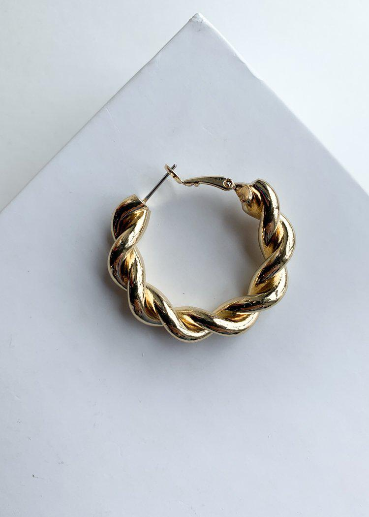 Gold Twisted Hoop Earrings-Hand In Pocket