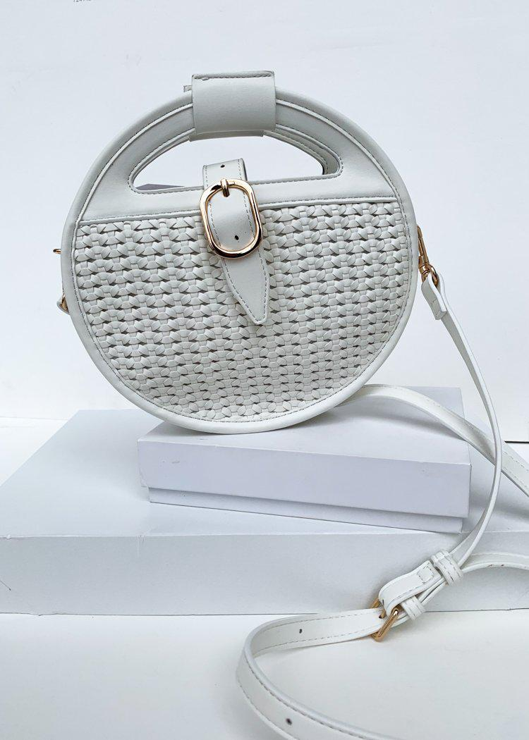 Cece White Round Woven Crossbody-Hand In Pocket