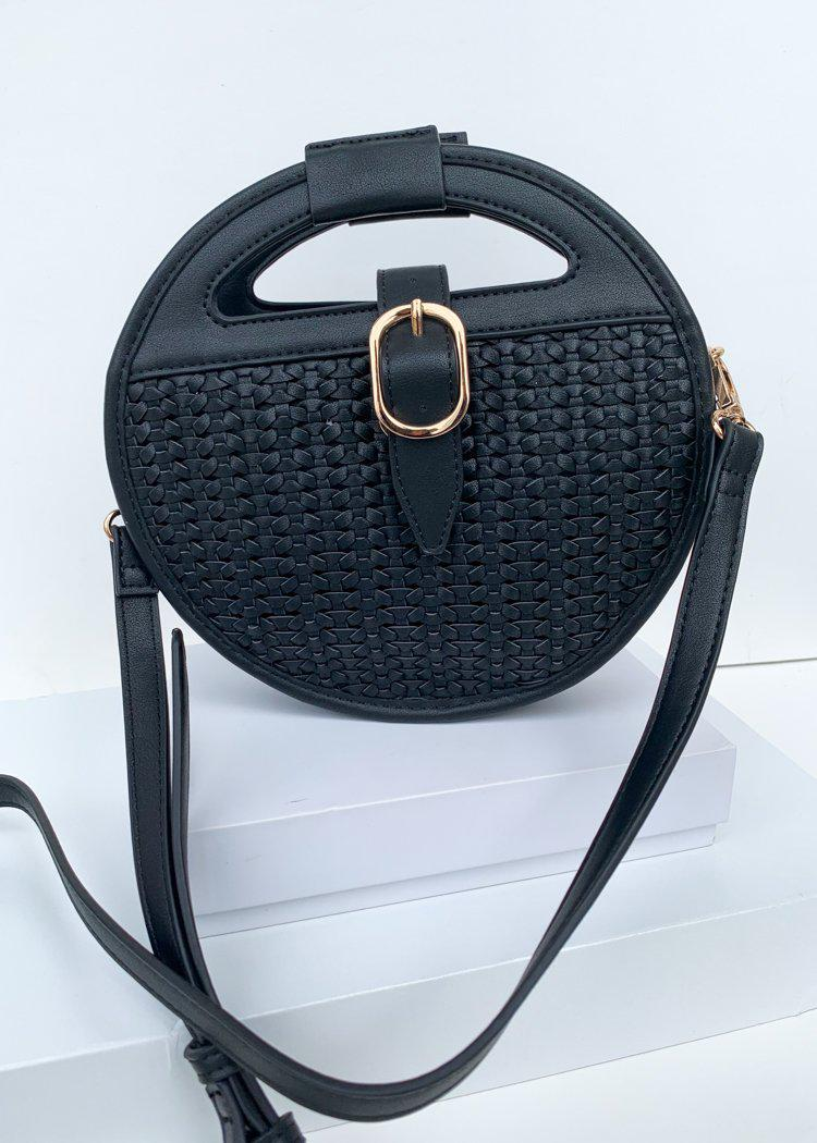 Cece Black Round Woven Crossbody-Hand In Pocket