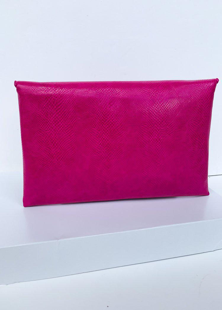 Lena Magenta Lizard Envelope Clutch-Hand In Pocket