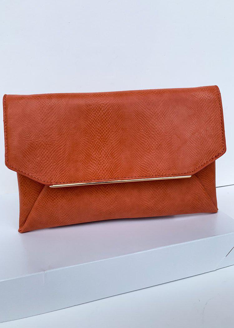 Lena Orange Lizard Envelope Clutch-Hand In Pocket