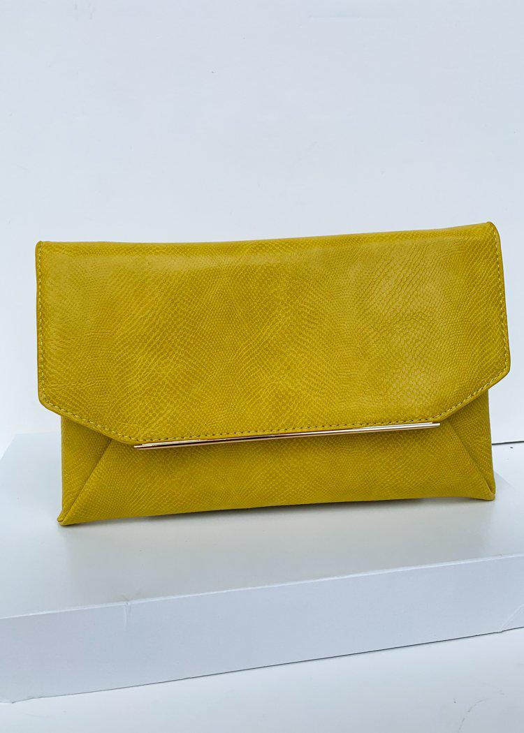 Lena Canary Yellow Lizard Envelope Clutch-Hand In Pocket