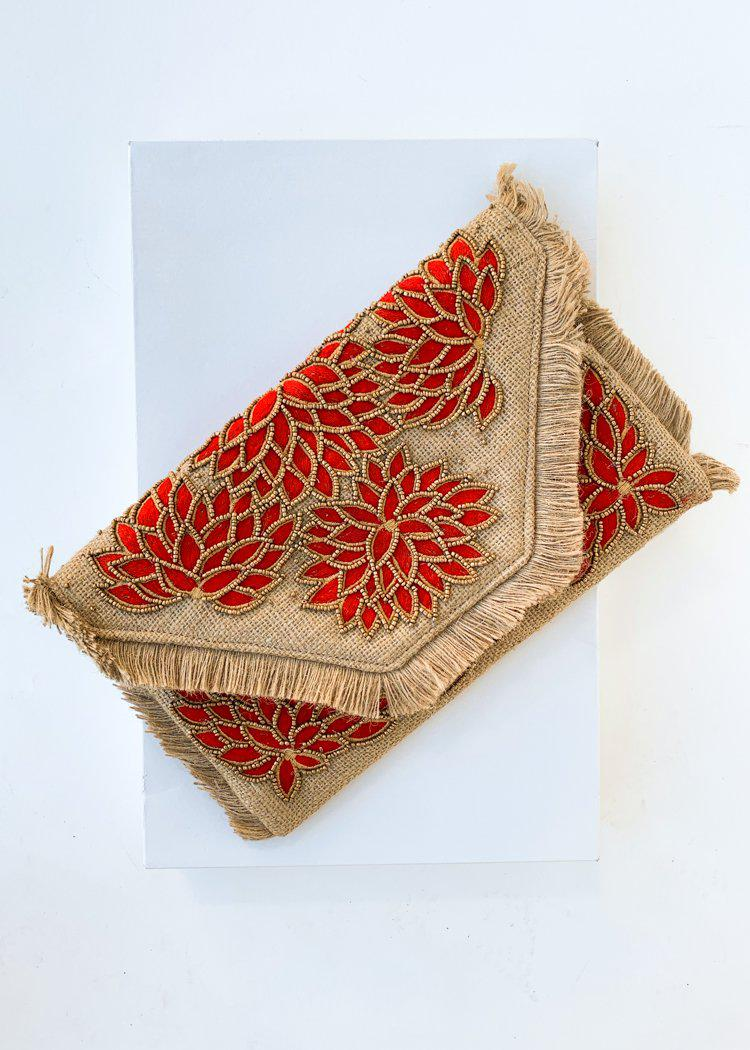 Kuta Red Embroidered Beaded Clutch-Hand In Pocket