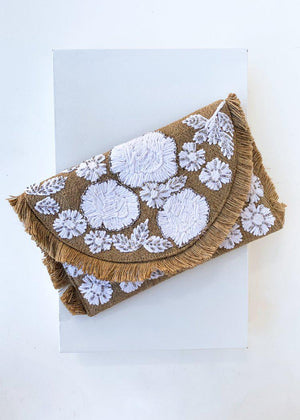 Floral Sewn Woven Khaki Jute Clutch-Hand In Pocket