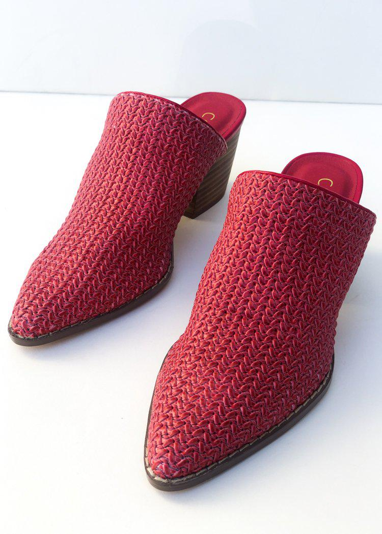 Matisse Jaxon Red Woven Heel Mules-***FINAL SALE***-Hand In Pocket