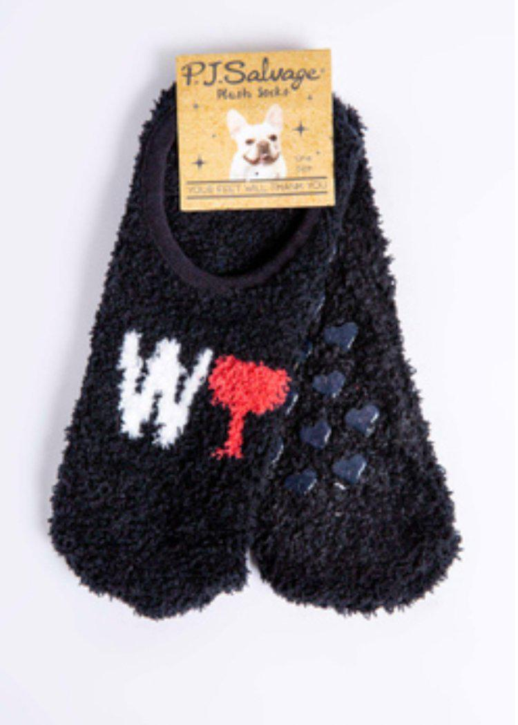 PJ Salvage Wine Slipper Socks-Black-Hand In Pocket