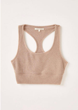 Z Supply Sia Marl Tank Bra - Cocoa-Hand In Pocket