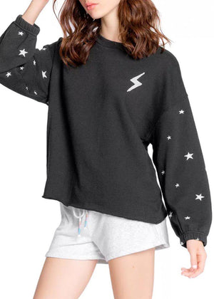 Pj Salvage Daily Doodle Stars Pullover - Black-Hand In Pocket