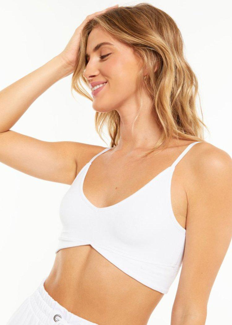 Z Supply Up All Night Rib Bra - White-Hand In Pocket