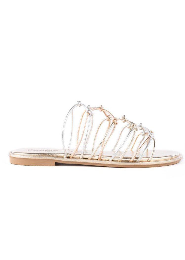 Seychelles Authentic Knotted Sandal- Mixed Metallic-Hand In Pocket