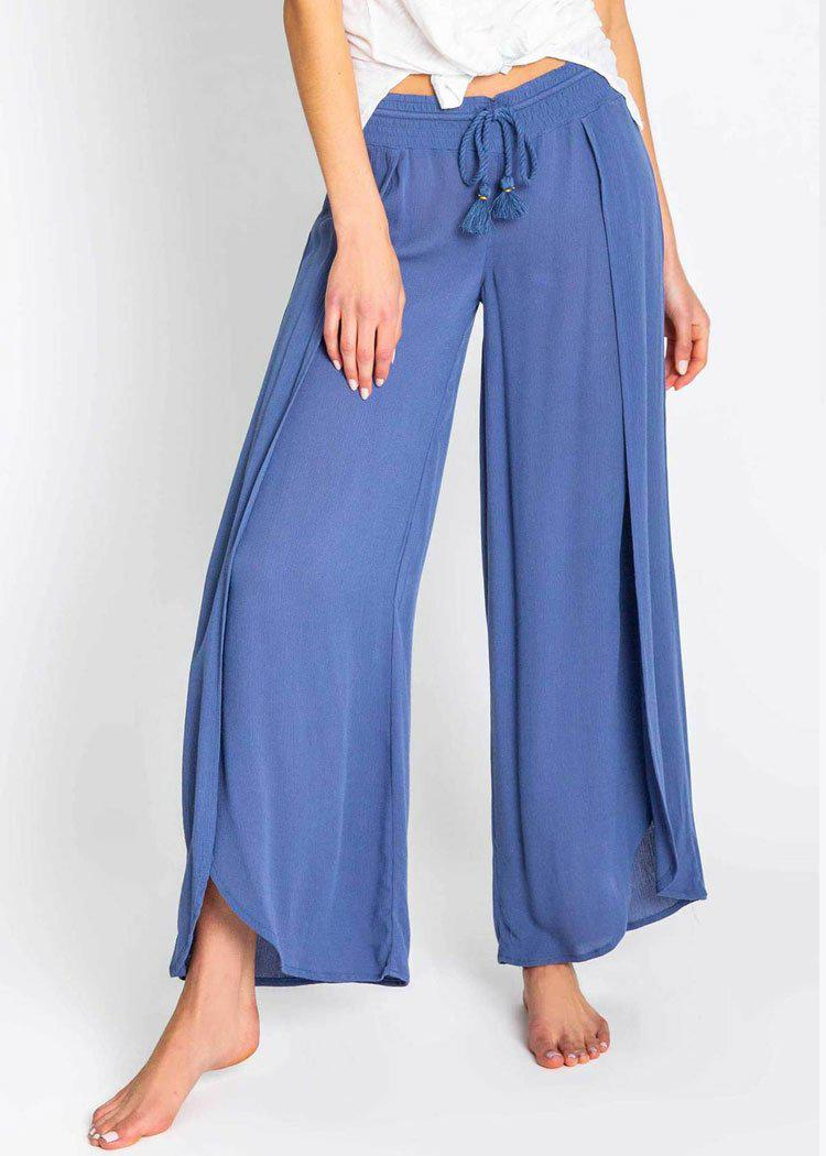 PJ Salvage Beach Blues Flowy Side Split Front Pant-Hand In Pocket