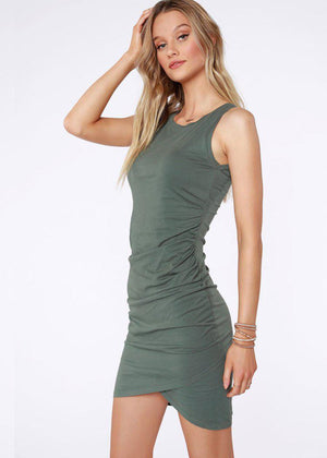 Bobi Sleeveless Ruched Dress - Dark Sage-Hand In Pocket