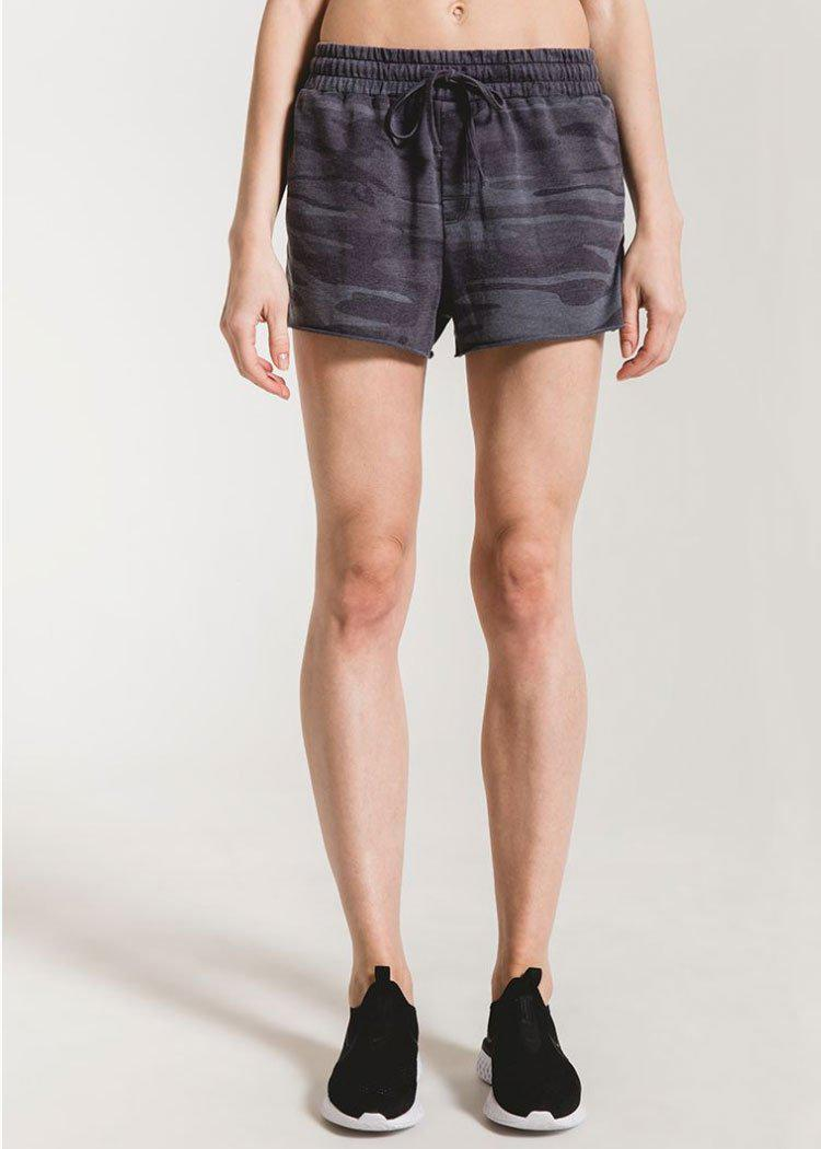 Z Supply Camo Raw Edged Sporty Short - Dark Blue Camo-Hand In Pocket