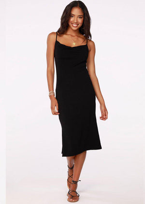 Bobi Cowl Neck Spaghetti Strap Midi Dress - Black-Hand In Pocket