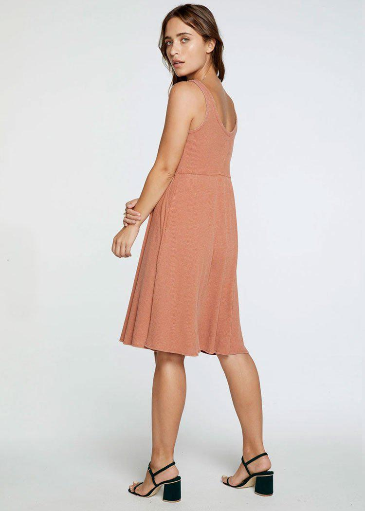 Chaser Ribbed Double V Tank Midi Dress -Sunkissed-Hand In Pocket
