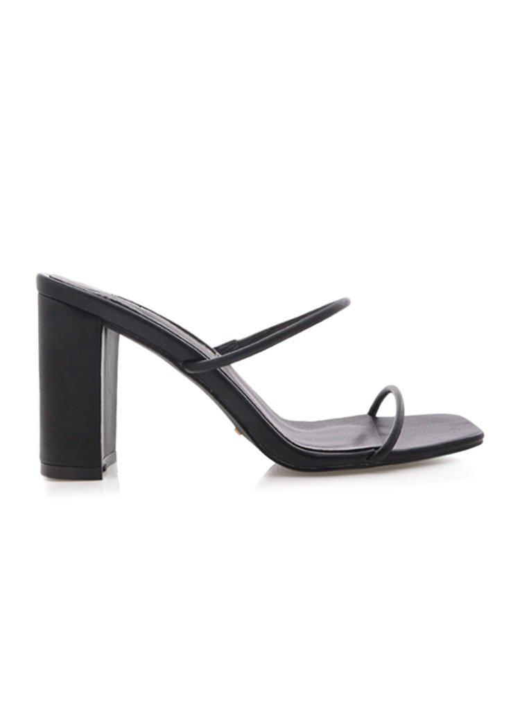 Billini Cypria Minimal 2 Band Block Heel- Black-Hand In Pocket